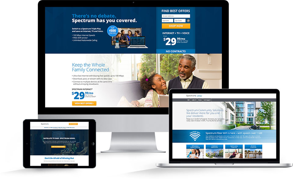 Mediaboom telecom marketing campaigns for Spectrum.