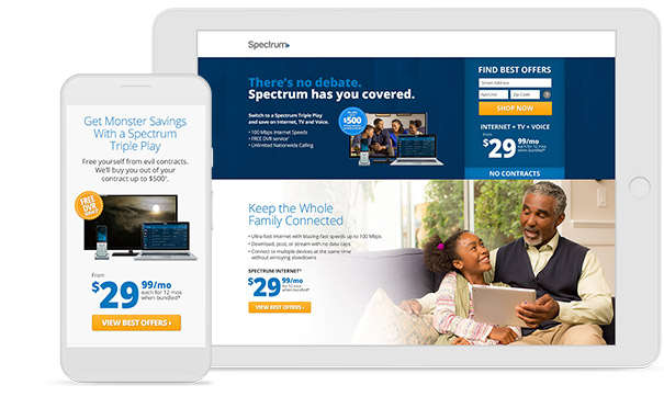 Mediaboom assists Spectrum with their telecom marketing campaigns.