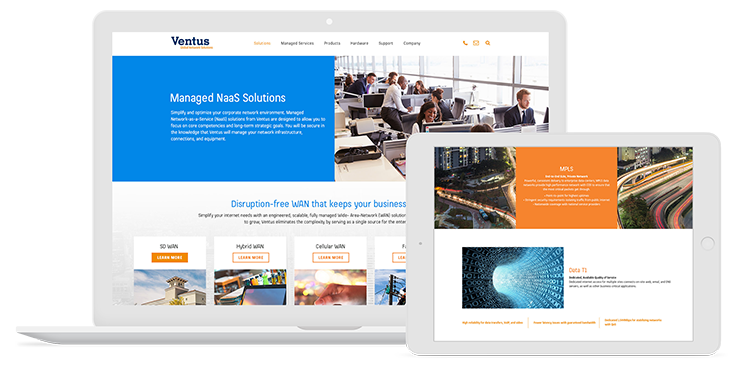 Mediaboom Corporate Web Design for Ventus Networks
