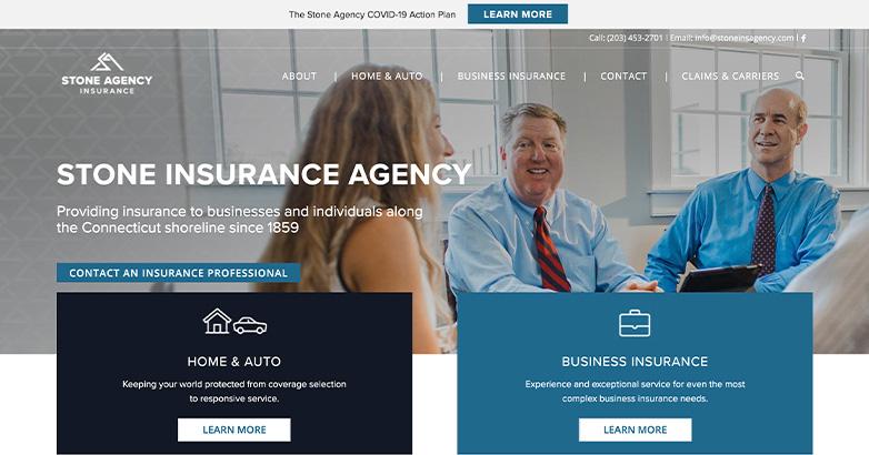 stone insurance website design