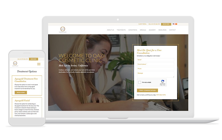 An example of dermatology website design by Mediaboom.
