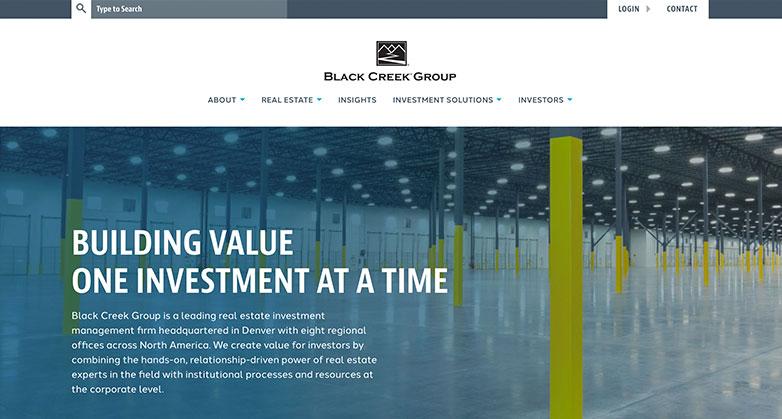Black Creek Group real estate investor website design