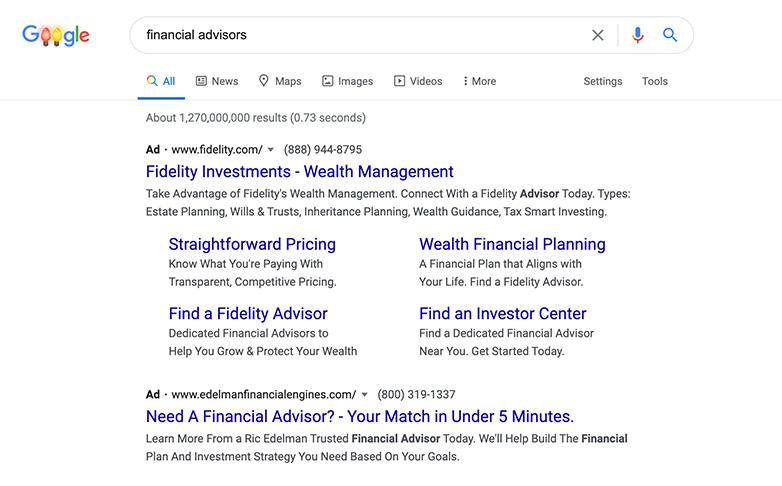 google ads for financial advisors